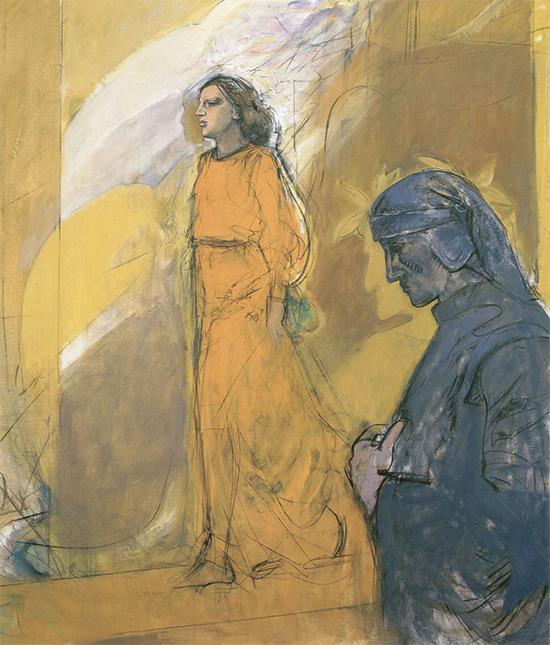 Tanto gentile e tanto onesta pare, Beatrice, 2002, Olio su tela, 100x130cm