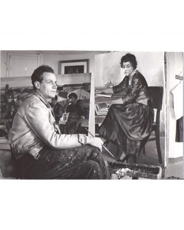 1955: Alberto Sughi al lavoro nello studio di Cesena